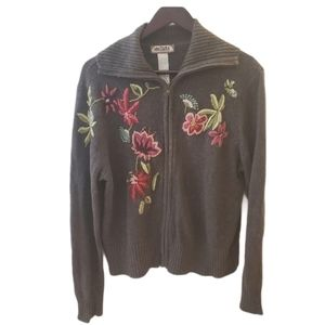 Embroidered Floral Sweater - Needs Repair